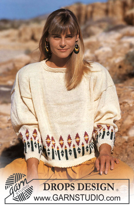 "DROPS 22-20 - DROPS jumper with pattern borders in ""Alpaca"" or ""Safran""."