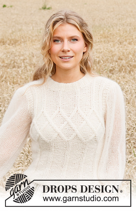 White Meadow / DROPS 220-7 - Knitted sweater in DROPS Sky and DROPS Kid-Silk. The piece is worked with cables, double neck and balloon sleeves. Sizes S - XXXL.