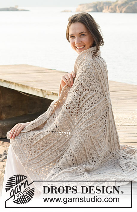 Day By The Sea / DROPS 221-2 - Couverture crochetée en DROPS Lima.