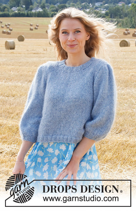 Big Sky Country / DROPS 223-23 - Knitted jumper in DROPS Sky and DROPS Kid-Silk. The piece is worked with ¾-length, puffed sleeves. Sizes S - XXXL.