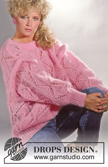 Pink Power / DROPS 3-17 - DROPS jumper with lace pattern and tube at armhole in Vienna or Melody. Size S-L.