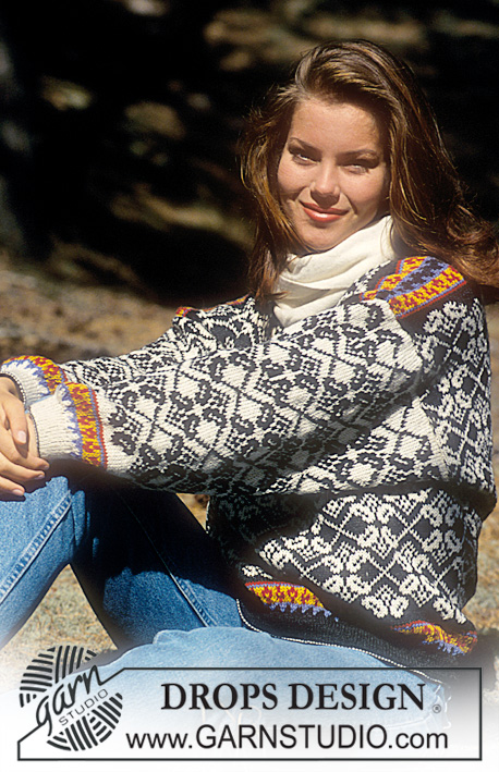 "DROPS 35-20 - Drops Sweater with Norwegian inspired pattern in ""Alpaca"""