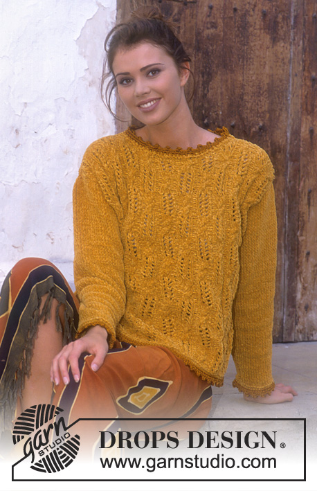 Golden Afternoon / DROPS 56-21 - DROPS jumper in Cotton Chenille with lace and cable pattern.