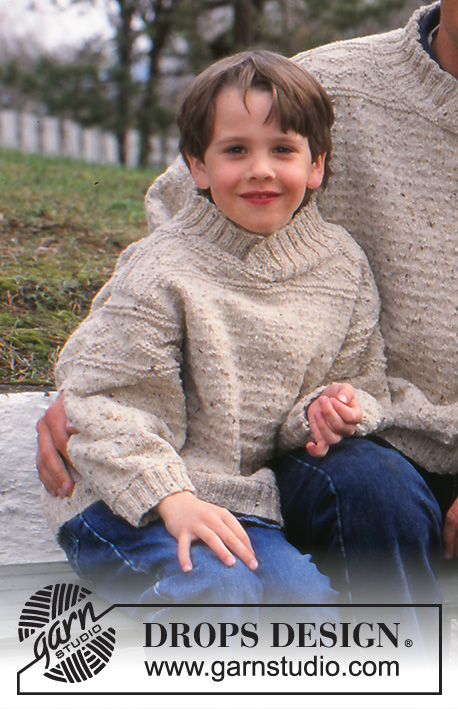 Out and About / DROPS 59-1 - Knitted sweater for women, men and kids in DROPS Angora-Tweed with structure pattern. Women's sizes S/M - M/L. Men's sizes S/M - XXL. Kid's sizes 2 - 13/14 years.