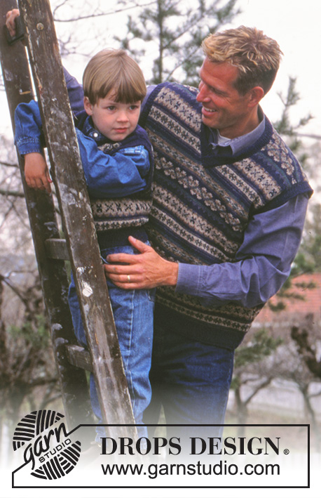 DROPS 59-5 - Knitted vest with Nordic pattern for child and adult in DROPS Silke-Tweed. Child's sizes: 2-14 years old, Men's Sizes: S-XXL