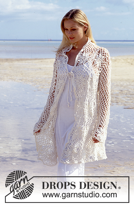 Garden Wedding / DROPS 65-9 - DROPS Crocheted cardigan or pullover in Muskat.
