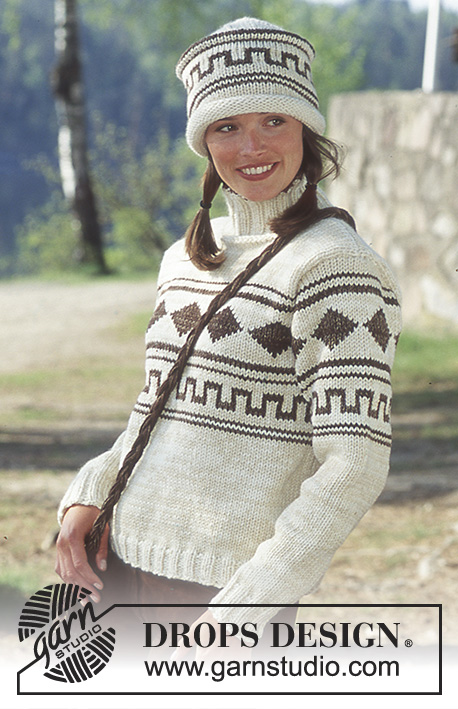 DROPS 66-1 - DROPS Pullover, Hat and Bag in Alaska and Silke-Tweed.