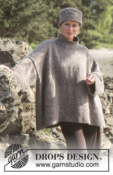 Elaine / DROPS 66-15 - Oversizes DROPS Pullover and Hat/Head band in Alpaca and Kid-Silk.