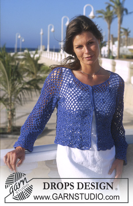 Midnight Lace / DROPS 68-15 - DROPS Crocheted Cardigan in Muskat