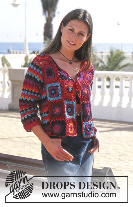 Bohemian Sunset / DROPS 68-21 - Crochet DROPS jacket in Tynn Cotton Chenille and Muskat
