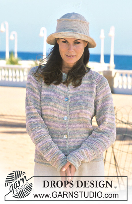 DROPS 69-10 - DROPS jacket with stripes and raglan seams in Passion and Muskat. Crochet hat in Muskat