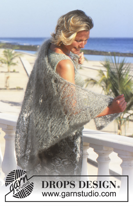 DROPS 69-28 - Shawl with lace pattern in DROPS Vienna or DROPS Melody.