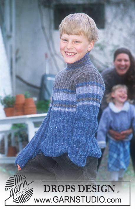 DROPS 70-3 - DROPS Ribbed pullover in Angora-Tweed (children's and men's sizes)