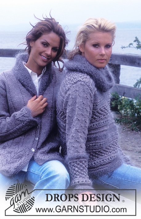DROPS 76-10 - DROPS Sweater with textured pattern and large collar in Alaska, Vienna and Silke-Tweed.