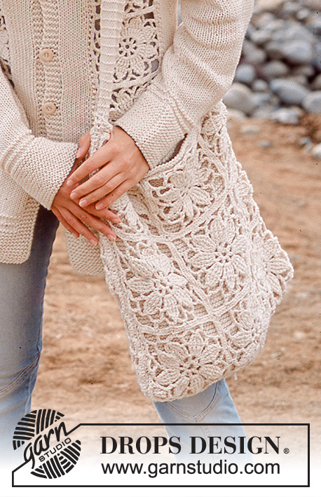 Destiny Bag / DROPS 77-27 - Knitted bag/tote bag with crocheted flower pattern in DROPS Paris.