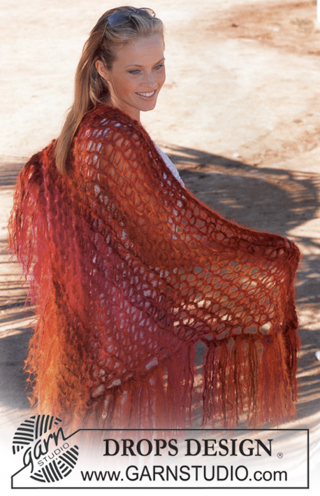 Firestorm / DROPS 82-1 - DROPS Shawl in Vienna and Highlander.