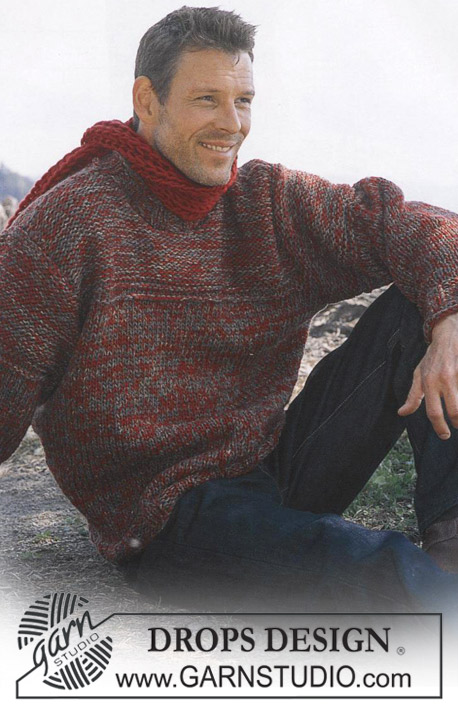 DROPS 85-14 - Men's knitted sweater in DROPS Karisma and DROPS Alpaca, with scarf in English rib in DROPS Eskimo