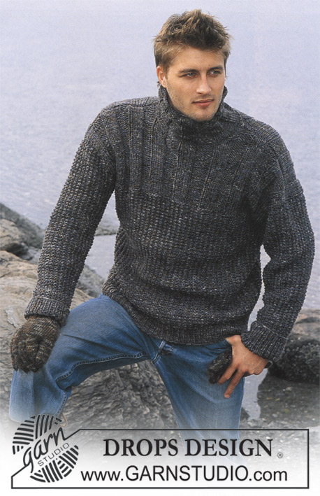 Winter Ballade / DROPS 85-20 - Knitted jumper for men with rib and high neck, in DROPS Karisma and DROPS Fabel, plus gloves in DROPS Karisma