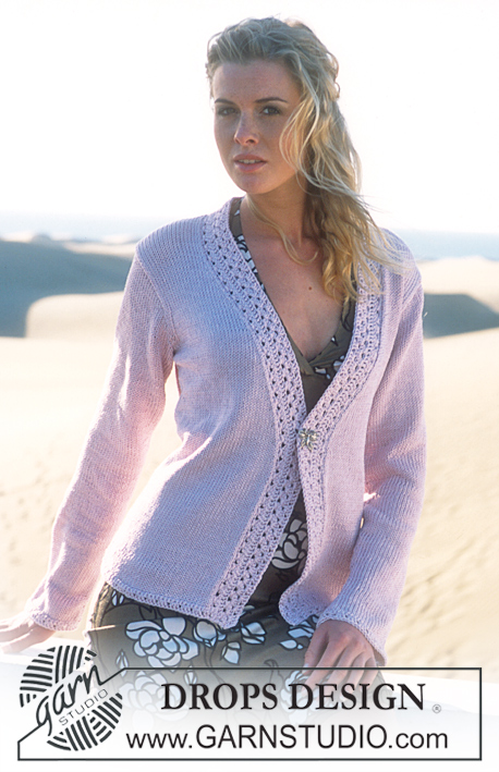 DROPS 87-13 - DROPS jacket with crochet borders in Muskat and Glitter