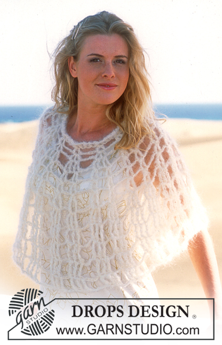 Angel Wings / DROPS 88-16 - DROPS Crocheted Poncho in Vienna
