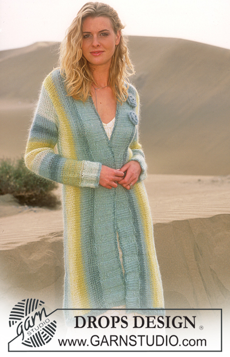 DROPS 88-25 - Long knitted jacket with stripes in Alpaca and Vivaldi and flower brooches in Alpaca