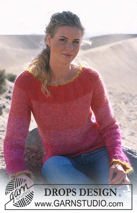 Raspberry Sunset / DROPS 89-1 - DROPS Pullover in Muskat and Vivaldi