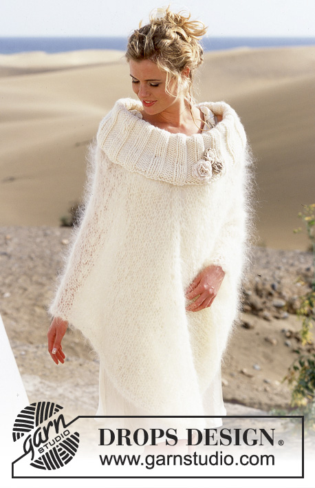 Beach Wedding / DROPS 89-25 - DROPS Knitted poncho with large neck in Vienna or Melody and Eskimo with crochet flowers in Cotton Viscose