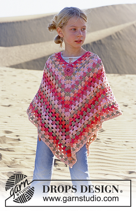 Little Sophie / DROPS 89-6 - DROPS Girl's Crocheted Poncho in Paris with blossom in Safran