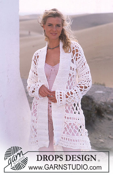 DROPS 90-15 - DROPS Long Crocheted Cardigan in Ice with Knit buttonband.
