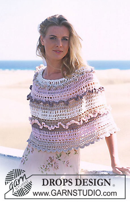 DROPS 90-23 - Crochet DROPS poncho with lace rows in Muskat