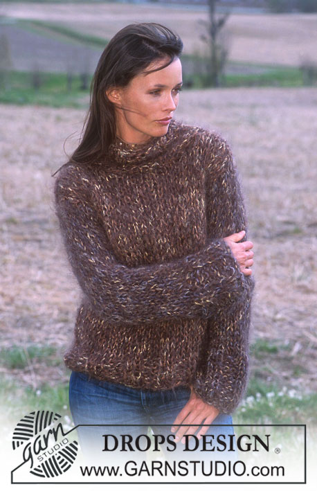 2166f6a17 DROPS 91-24 - DROPS Sweater with high neck in Fox and Vienna.