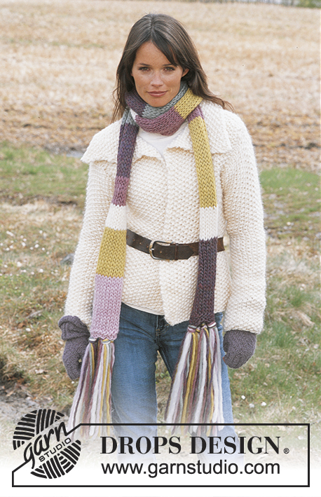 DROPS 92-2 - DROPS Cardigan Knitted in Moss stitch in Eskimo, Stripy Scarf with tassels in Eskimo and open-finger mittens in Alpaca.
