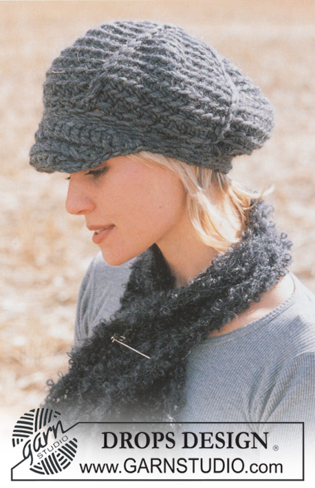 DROPS 93-22 - DROPS Crochet cap in Eskimo and scarf in Puddel