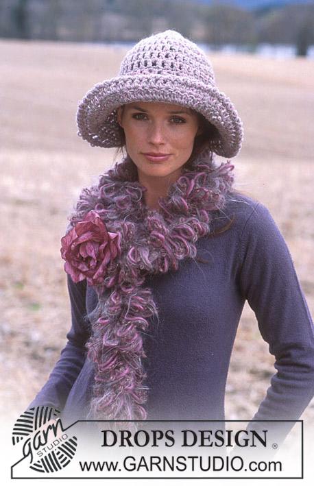 Free Crochet Pattern For Boa Scarf : DROPS 93-26 - DROPS Crochet hat in Alaska and boa in ...
