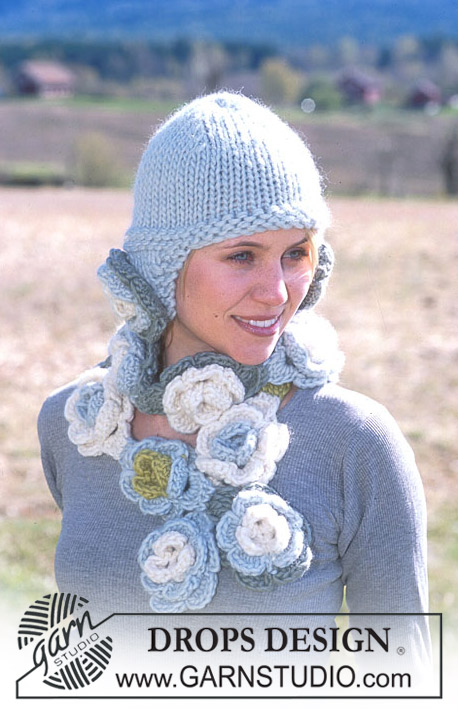 DROPS 93-39 - DROPS Hat with flower attachments and crochet flower scarf in Eskimo