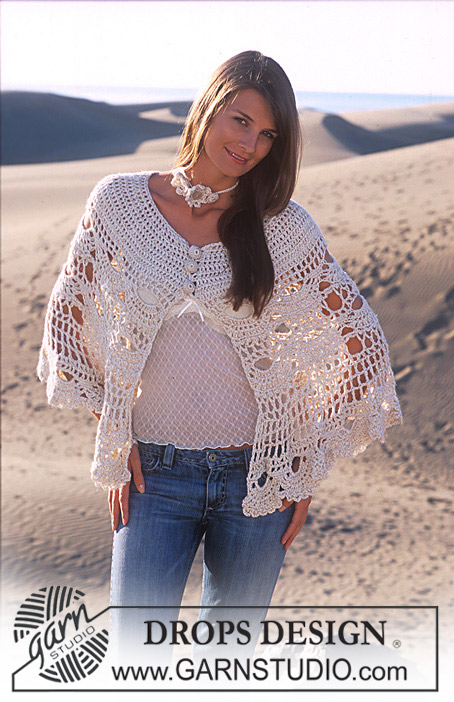 Desert Bloom / DROPS 94-10 - DROPS Nostalgic poncho crochet in Alpaca and Cotton Viscose and crochet necklace and bracelet