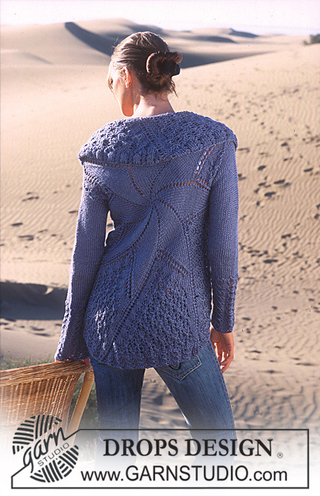 "Stella Marina / DROPS 94-5 - DROPS Cardigan in ""art knitting"" with Alpaca and Cotton Viscose, based on a circle."