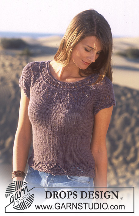 DROPS 95-9 - DROPS Short sleeved top in in Safran and Alpaca