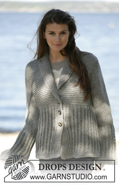 DROPS 96-23 - Knitted jacket with false English rib variation and crochet edges in DROPS Alaska. Size: S-XXL
