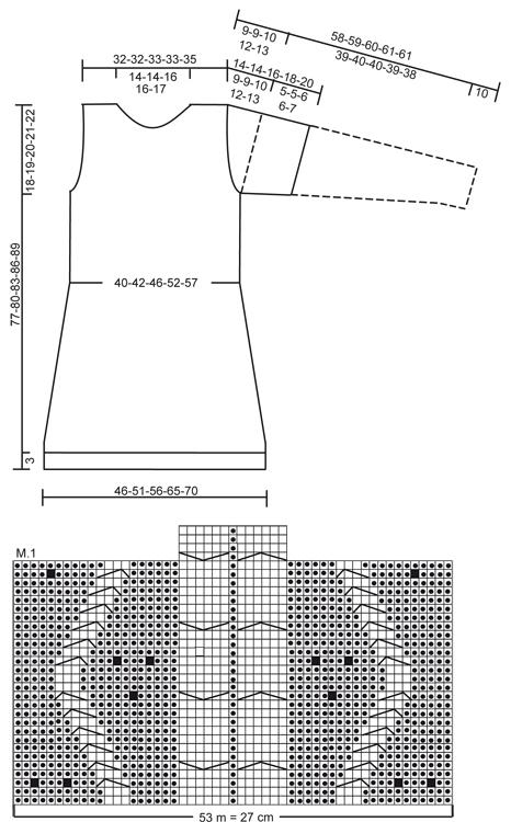 Туніка-сукня з довгими або короткими рукавами - схема
