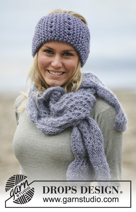 Lavender Muse / DROPS 98-20 - DROPS Hair band and scarf in Eskimo