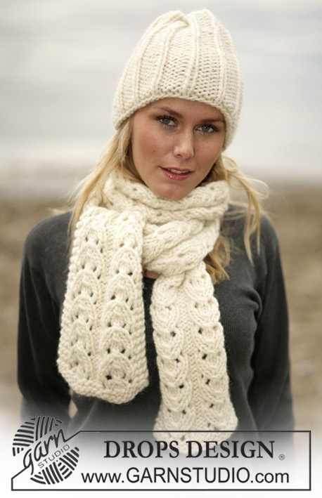 DROPS 98-28 - DROPS Hat and scarf in Eskimo