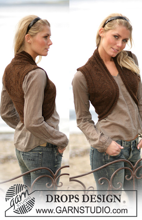 DROPS 98-38 - DROPS Vest with textured pattern in Alpaca