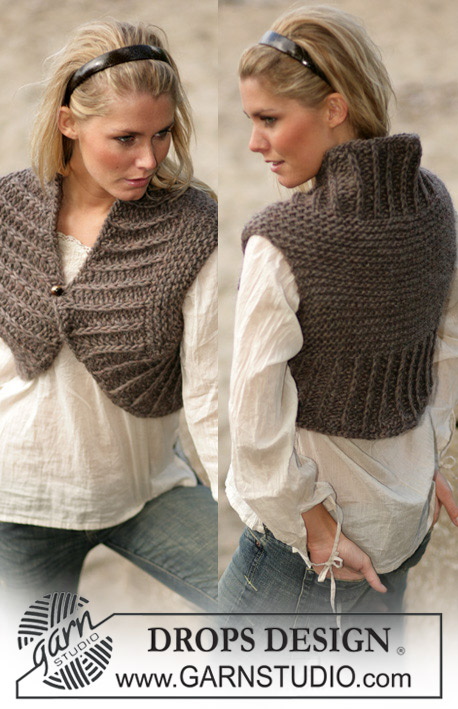 DROPS 98-47 - Knitted shrug with false English rib variation in DROPS Eskimo. Size: S-XXL