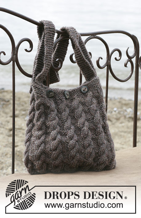 DROPS 98-55 - DROPS Bag with cable pattern in Eskimo