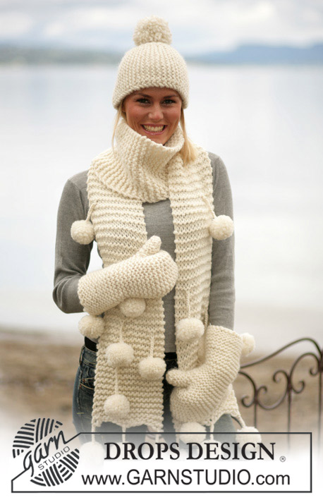 Pom Pom Adore / DROPS 98-6 - DROPS Hat, scarf and mittens in Eskimo or Andes.
