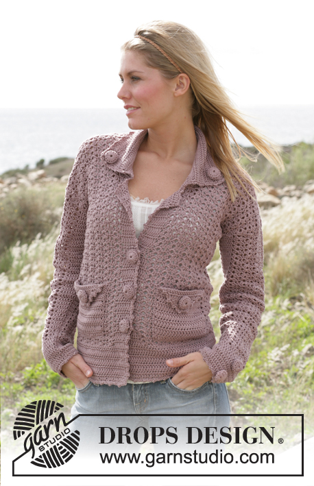 Country Walk / DROPS 99-18 - DROPS crochet jacket in Muskat. Size XS - XXL