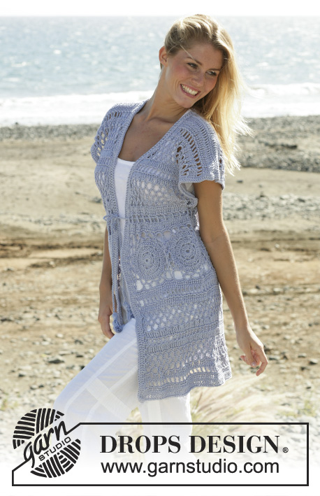 Enjoy / DROPS 99-2 - DROPS long sleeves less cardigan with wide shoulders crochet in Muskat. Sizes XS - XXL
