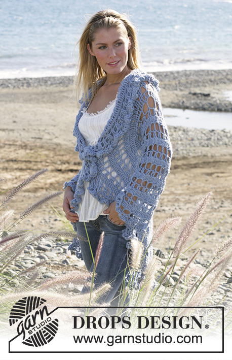 "Moonlight Mist / DROPS 99-3 - DROPS circle jacket crochet with 2 strands ""Alpaca"". Sizes S-XL"