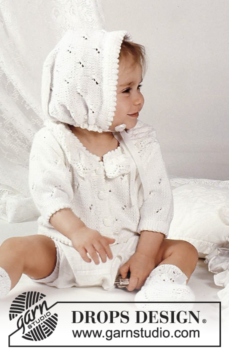 Sweet Smile / DROPS Baby 1-8 - Set of knitted jacket with lace pattern and frill collar, bonnet and socks in for baby and children in DROPS Safran